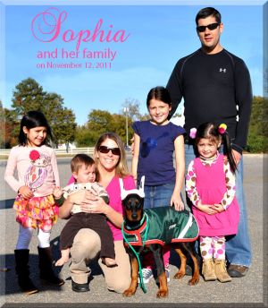 Sophia on her first day with her new family